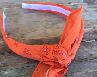 Orange Vintage Washed Bandana Knot Tie Headband Bandanna Head Wrap Rock Fashion Headband