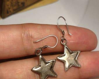 SALE TODAY Stunning Vintage 925 Sterling Silver Star Drop Dangle Earrings Pierced Rock Star Burlesque Boho Jewelry