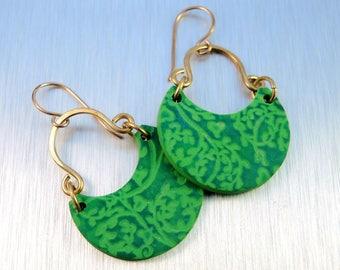Green Polymer Clay Earrings - Green Floral Earrings - Brass and Polymer Earrings