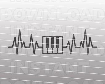 Heartbeat Piano SVG File,Pianist svg,EKG svg,Pulse svg- Vector Art for Commercial & Personal Use- Silhouette,Cricut,Cameo,Vinyl cutter