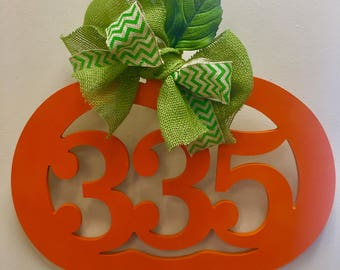 Custom MONOGRAM Number PUMPKIN/door hanger/orange/autumn/wall hanging/fall pumpkin wreath/24 inch/wooden/front door decor