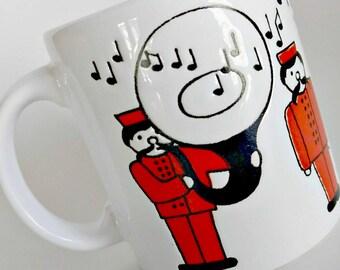 Waechtersbach Mug Tuba Player / Music Notes / Marching Band / Band Director Gift / Red White Black / Tuba Player Mug / Red Coffee Mug