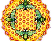 Cosmic Circle, Bees See (smaller), Window Cling, EcoFriendly, Vinyl Sticker Art, Nature Lover, Eye, Light worker, Sun catcher, Save the Bees