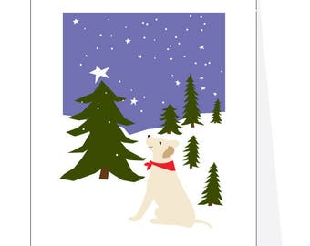 Holiday Greeting Cards Yellow lab in snowy pine forest
