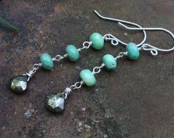Chrysoprase Linear Earrings, Sterling Silver Wire Wrapped, Pyrite Dangle Earrings, Gemstone Earrings, Artisan Earrings, Fool's Gold Earrings