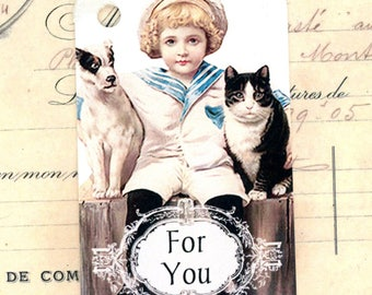 Victorian Gift Tags , For You Tags , Sailor Boy , Tuxedo Cat , Jack Russell Terrier, Birthday Tags , Child's Gift Tags, Bluebird Lane Tags
