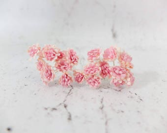 20 10mm dual pink mulberry flowers - 1 cm gypsophila - paper baby's breath