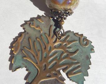 Embossed Brass leaf & Lampwork Pendant