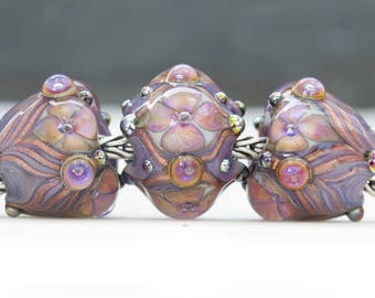 Victorian Style Ornate Floral Flourish Lustre Bead Handcrafted Lampwork Glass European Charm Big Holed Trio by Clare Scott SRA