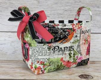 Fabric Organizer Bin Toy Storage Container Basket -  Bonjour - Paris France - Eiffel Tower - Flower Floral