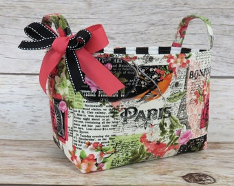 READY TO SHIP - Fabric Organizer Bin Toy Storage Container Basket -  Bonjour - Paris France - Eiffel Tower - Flower Floral