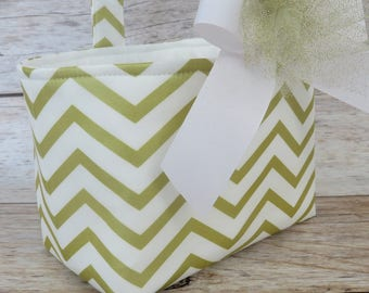 READY TO SHIP - Easter Fabric Basket Bin Bucket Candy Egg Hunt Storage Container - Gold White Chevron ZigZag Fabric