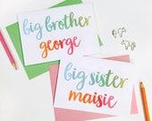 New Baby Sibling Card - Personalised New Baby Card - Big Brother Card - Big Sister Card - Baby Keepsake Card
