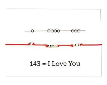 Knotted Cord Bracelet, I Love You 143, Valentine's Day - Red