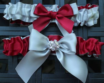 Silver with Scarlet Red Satin Garter Set-Includes Toss Garter- Bows and High Sparkle  Rhinestone Accents