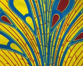 African Ankara Fabric yellow blue red Wax Print Block Print Fabric HiTarget Cotton