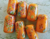 SALE 15% off Vintage beads (6) rare millefiori  flower tube beads Japanese opaque  glass lampwork bright orange handmade 12mm (6)