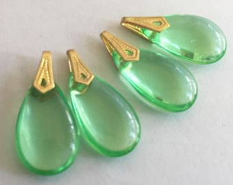 vintage glass drops (4) green peridot  teardrop  beads charms Czech  Art Deco Perfect for earrings include bails  (4)