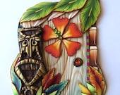 Tiki Hut Fairy Door Handmade Pixie Portal Miniature Fairy Garden Island Theme Decor Tooth Fairy Entrance Art Collectible