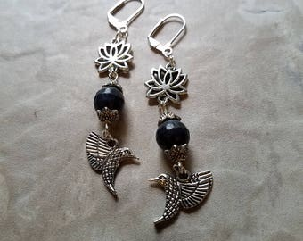 Faceted Blue Lapis and Hummingbird and Lotus Flower Long Dangle Leverback Earrings