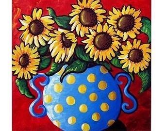 Sunflowers Blue Vase Red Background Fun Colorful  Whimsical Folk Art Ceramic Tile