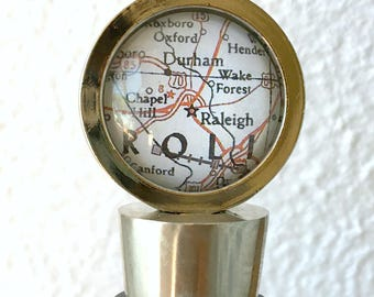 Research Triangle - Chapel Hill Raleigh Durham Map Wine Stopper Stainless Steel - Also featuring Wake Forest
