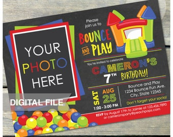 """Bounce and Play Bounce House Birthday Chalkboard Invitation Bouncy House  Inflatable Jump Party - Photo - DIGITAL Printable Invite - 5"""" x 7"""""""