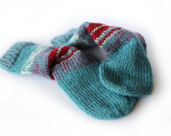 100% wool baby socks Handknit up to 6 months FREE SHIPPING