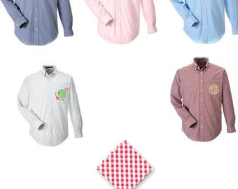 ON SALE Monogrammed Gingham Button Down Shirt - Bridesmaid Shirts - Bridesmaid Gift - Gingham Oxford Wedding Party Shirts - Wedding Day Shir