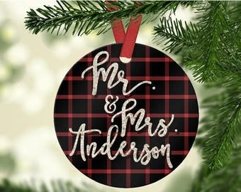 ON SALE Buffalo plaid holiday ornament - personalized Mr. and Mrs. Christmas couple ornament - established date
