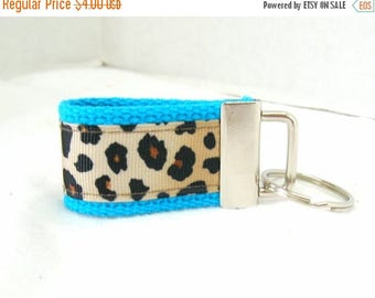 20% OFF Mini Key Fob - Leopard TURQUOISE - Animal Print Key Chain -Cheetah Key Ring - Cheetah Zipper Pull
