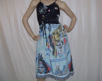 Star Wars OOAK Dress Upcycled Vintage Sheet Disney Cruise Resort Star Wars Yoda Empire SB Lace Trim Mom Party Maternity Dress Adult M L XL