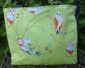 Owls tote bag, knitting project bag, Watching Owls, The medium Fleur wide