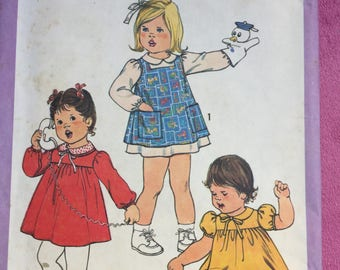 Vintage Simplicity 8691 toddler dress pinafore sewing pattern uncut size 3