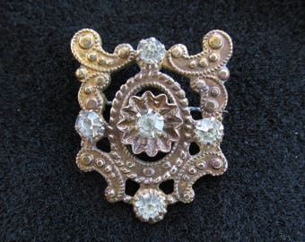 Antique Brooch Pin Prong Set Rhinestiones C Clasp