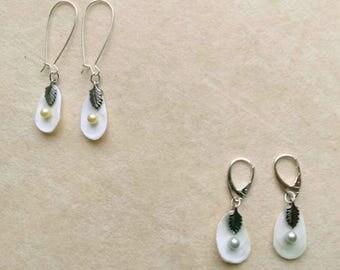 Natural White Shell Earrings with Pearl, Pearl Slippers, Thin Shell Earrings, Love Ocean, Nautical Earrings- Sea Treasures by enchantedbeads