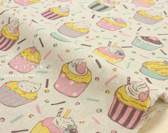 Japanese Fabric - party cupcakes - natural, pastels - fat quarter