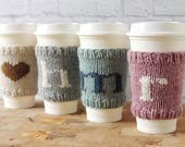 Coffee Cozy, Knit Coffee Sleeve, Cup Sleeve, Cup Cozy, Teacher Gift, Hostess Gift, Monogram Coffee Cozy, Stocking Stuffer, Hostess Gift