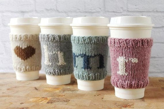 Coffee cozy knit coffee sleeve easter basket gift cup like this item negle Gallery