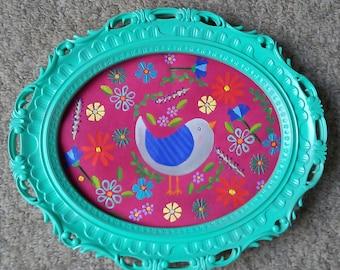 Original bird painting embroidery on canvas Framed NURSERY ART wall hanging kids room home decor gardening