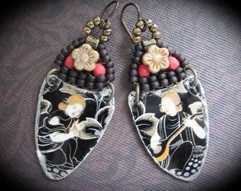 Tin Earrings. Dangle Bohemian Beaded Earrings. Repurposed Tin Earrings. Gyspy Dangle Earrings