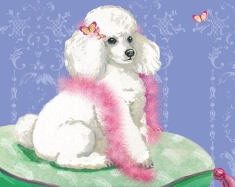 White Poodle Note Cards Set of 6 with Envelopes