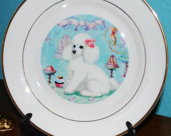 White Poodle Cakes Pastry Cabinet Plate Porcelain 8 in