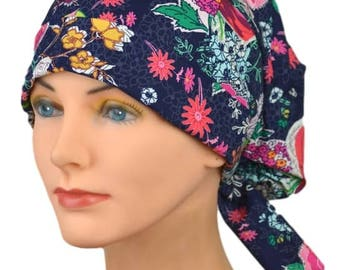 SMALL Womens Surgical Scrub Caps with FABRIC TIES - The Hat Cottage - Sunday Clippings