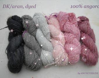 Handspun 100% Angora Yarn, DK/ARAN, dyed