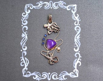 Octopus necklace. Sugilite jewelry. Sugilite pendant with a starfish.
