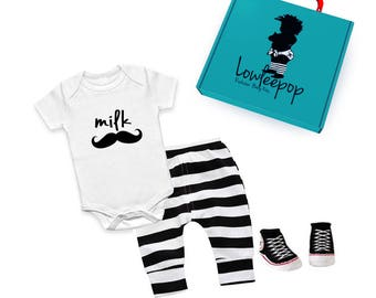 ROCKSTAR BABY KIT Milk Mustache white onesie, black striped pants, sneaker booties & optional gift box