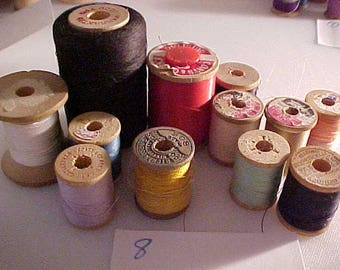 lot of 12 vintage Wooden Sewing Spools #8
