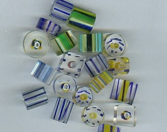 CLEARANCE Blue and Yellow Cane Glass Beads Mixed sizes and shapes 929T