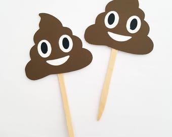 Poop Emoji Cupcake Toppers, Emoji Party Decor, Tween Birthday Party Decor